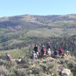 Aspiro students sitting on top of a mountain in the green wilderness