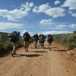 Aspiro students backpacking, view from behind